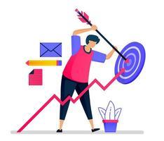 as pessoas tentam acertar o alvo. cumprimento dos objetivos de negócios, liderança e motivação. as ilustrações podem ser usadas para sites, páginas da web, páginas de destino, aplicativos móveis, banners, folhetos, pôsteres vetor