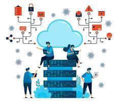 ilustração em vetor de plataforma de computação em nuvem para suportar novo trabalho normal. tecnologia de banco de dados para a pandemia covid-19. o design pode ser usado para página de destino, site, aplicativo móvel, pôster, panfletos, banner