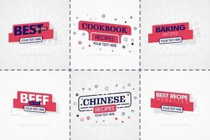 livro de culinária rosa definido para revistas de comida e receita. títulos ou emblemas do menu do restaurante para lojas de alimentos e restaurantes. design minimalista para banners de receita