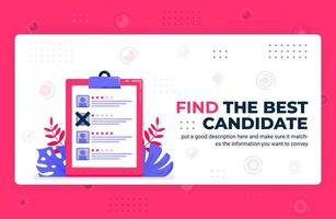 ilustração em vetor cartaz de encontrar o melhor candidato. selecionar funcionários com classificação, opinião, feedback e revisão. pode ser usado para site da web aplicativos móveis modelo de elemento de fundo de panfleto