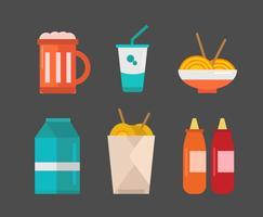 Vector de ícones de comida on-line