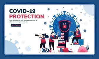 ilustração vetorial da página de destino de criptografia de dados e segurança para proteger informações confidenciais do vírus covid-19 e vacinas. ícone e símbolo de criptografia de documento de vírus. web, site, banner vetor