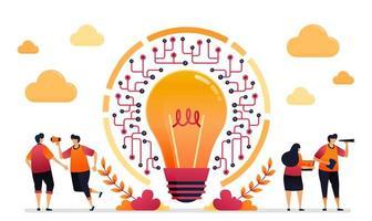 ilustração em vetor de ideia e inspiração para rede. conexão e acessibilidade em tecnologia iot. design gráfico para página de destino, web, site, aplicativos móveis, banner, modelo, pôster, folheto
