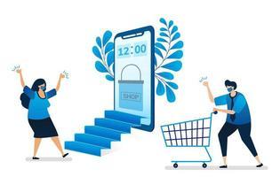 ilustração em vetor de compras online com novo protocolo de saúde normal com aplicativos móveis, loja virtual móvel. pode ser usado para site, web, aplicativos móveis, folheto, plano de fundo, elemento, banner, modelo