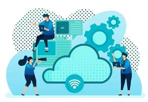 ilustração vetorial para provedor de nuvem para rede, conexão de internet, comunicação, servidor de hospedagem, data center. o design pode ser usado para página de destino, modelo, ui ux, web, site, banner, folheto