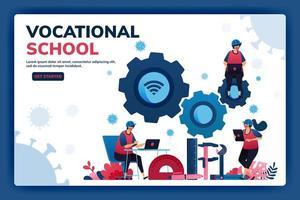 ilustração vetorial da página de destino de bolsas de educação vocacional e e-learning para apoiar recursos humanos durante a pandemia do vírus covid-19. símbolos de máquinas-ferramentas. web, site, banner vetor
