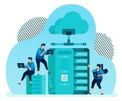 modelo de ilustração vetorial para sistema de gerenciamento de banco de dados para armazenamento de dados, backup, hospedagem, servidor, provedor de serviços em nuvem. o design pode ser usado para página de destino, ui ux, web, site, banner, folheto