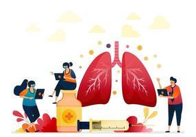 tratamento para doenças pulmonares. projeto de pulmão plano com gradações 3d. medicamentos e injeções para cirurgia pulmonar. saúde da respiração. ilustração vetorial para site, aplicativos móveis, banner, modelo, pôster