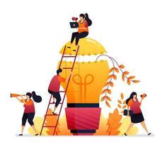 ilustração vetorial de ideia e inspiração, procurando a resolução de problemas com brainstorming e conhecimento. design gráfico para página de destino, web, site, aplicativos móveis, banner, modelo, pôster, folheto vetor
