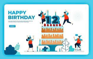 Ilustração em vetor 12º aniversário com protocolo de saúde. feliz festa de aniversário de quarentena. sinal de aniversário. cartão de aniversário online. para site, web, página de destino, banner, aplicativos para celular, ui ux, pôster, folheto