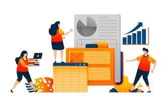 os funcionários pesquisam dados da empresa na pasta de trabalho e analisam o crescimento do desempenho. o conceito de ilustração vetorial pode ser usado para página de destino, modelo, ui ux, web, aplicativo móvel, cartaz, banner, site, folheto vetor