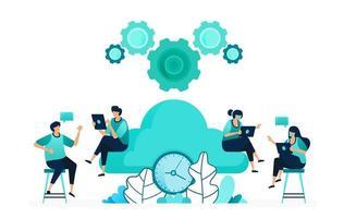 ilustração em vetor de tempo de computação em servidores de armazenamento e hospedagem. gerenciar o tempo da rede em nuvem. grupo de trabalhadores femininos e masculinos. projetado para site, web, página de destino, aplicativos, ui ux, pôster, folheto
