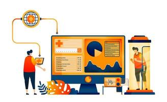 exames de saúde e autoimunes com tecnologia de redes de monitoramento. o conceito de ilustração vetorial pode ser usado para, página de destino, modelo, ui ux, web, aplicativo móvel, cartaz, banner, site, folheto vetor
