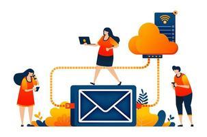 pessoas acessam armazenamento de e-mail e backups em uma tecnologia de sistema de rede em nuvem. o conceito de ilustração vetorial pode ser usado para página de destino, modelo, ui ux, web, aplicativo móvel, cartaz, banner, site, folheto