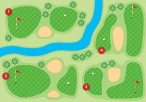 Ilustração de campo de golfe de visão aérea