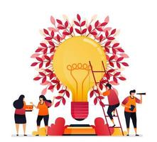 ilustração em vetor de inspiração para trabalho em equipe, comunicação, iluminação, brainstorming e conhecimento. design gráfico para página de destino, web, site, aplicativos móveis, banner, modelo, pôster, folheto