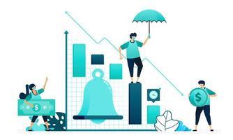 ilustração em vetor de sino na análise financeira de gráfico. lembretes de notificações para cima e para baixo no estoque do mercado. trabalhadores femininos e masculinos. projetado para site, web, página de destino, aplicativos, ui ux, pôster, folheto