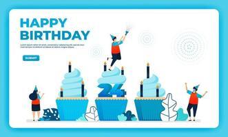 Ilustração em vetor 24º aniversário com protocolo de saúde. feliz festa de aniversário de quarentena. sinal de aniversário. cartão de aniversário online. para site, web, página de destino, banner, aplicativos para celular, ui ux, pôster, folheto