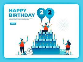 Ilustração em vetor aniversário 22 com protocolo de saúde. feliz festa de aniversário de quarentena. sinal de aniversário. cartão de aniversário online. para site, web, página de destino, banner, aplicativos para celular, ui ux, pôster, folheto