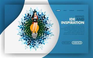 a mulher sentada na lâmpada, conceito de ilustração vetorial de procurar ideias e inspiração. fácil de usar para site, banner, página de destino, folheto, panfleto, impressão, celular, aplicativo, pôster, modelo vetor