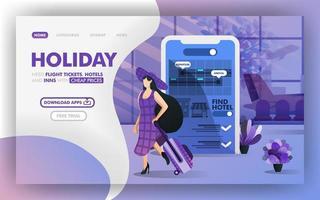 férias de baixo custo usando um conceito de ilustração vetorial de aplicativo móvel, férias de mulheres com chapéus usando o aplicativo. fácil de usar para site, banner, página de destino, folheto, impressão, celular, pôster, modelo, interface do usuário vetor
