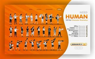 28 desenhos animados planos para download de ilustração em vetor web, coleção de ilustração humana plana com temas de escritório, funcionário, negócios. pode usar para site, banner, folheto, panfleto, impressão, celular