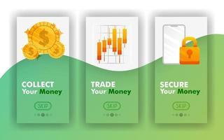 coletar, trocar e proteger seu conceito móvel de vetor de dinheiro, modelos de aplicativos móveis para finanças. fácil de usar para site, banner, página de destino, folheto, folheto, impressão, celular, aplicativo, pôster, modelo, interface do usuário