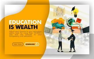 ilustração vetorial site de banner amarelo e branco sobre educação é riqueza. empresário troca dinheiro e ações no serviço em troca de conhecimento, idéias, livros e uma lâmpada. estilo plano vetor