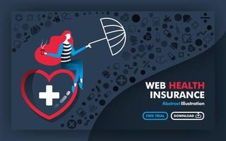 Vector ilustração abstrata banners e pôsteres em cinza com o título de seguro de saúde na web a mulher sentada no grande coração e segurando um guarda-chuva para proteger a doença. estilo cartoon plana