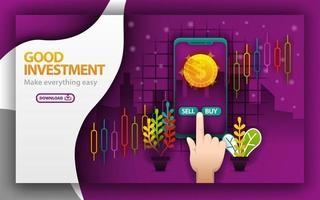 página da Web roxa. bom tema de investimento. aplicação de venda de ações, venda e compra. pode usar para página de destino, modelo, aplicativo móvel, pôster, ilustração, promoção online, marketing na internet, vetor
