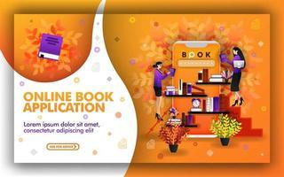 ilustração em vetor de aplicativo de livro online. a tecnologia ajuda a encontrar os melhores recursos de aprendizagem. lugar para estudar e ler livros. venda livros online e compra de livros online para apoiar a educação online