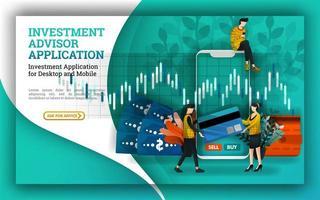 ilustrações simples de uma conta de investimento que fornece aplicativos de consultor para facilitar a gestão de investimentos e encontrar empresas de fundos mútuos e sugerir as melhores oportunidades do mercado de ações vetor