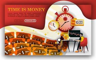 tempo é dinheiro, metáfora de uma máquina de fazer dinheiro, um homem determinando seu investimento. pode usar para, página de destino, modelo, interface do usuário, web, folheto, ilustração vetorial, promoção online, marketing na internet, finanças vetor