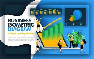 ilustração vetorial isométrica para negócios e empresas. laptops 3D disponíveis, diagrama, gráficos de barras, gráficos de pizza, personagens de trabalhadores e gráficos de linhas 3D. pode ser para apresentações, negócios, website vetor