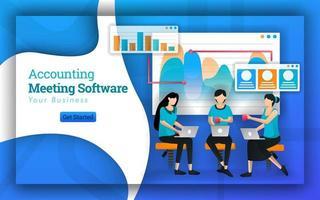 O software de reunião de contabilidade tem muitos contadores profissionais de várias empresas, atendendo a impostos para pequenas empresas e treinamento para contadores. software sem fins lucrativos oferece cursos gratuitos. estilo de vetor plano