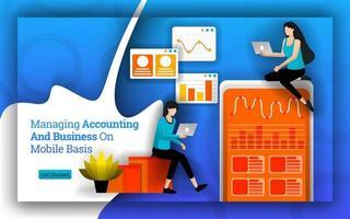 estatísticas contábeis simplificadas para gerenciar contabilidade e negócios em uma base móvel. o software e os aplicativos de contabilidade tornam mais fácil para o negócio pessoal e doméstico gerenciar a contabilidade. estilo de vetor plano