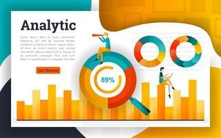 gráfico de círculo e gráfico de barras para contabilidade e negócios vetor