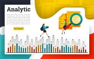 analisar documentos e explicar em gráficos analíticos vetor