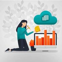 trabalhadoras alteram os dados do gráfico de vendas do armazenamento em nuvem. ilustração vetorial plana dos desenhos animados vetor