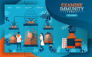 os cientistas estão examinando e examinando o sistema imunológico do corpo humano. ilustração vetorial plana dos desenhos animados vetor