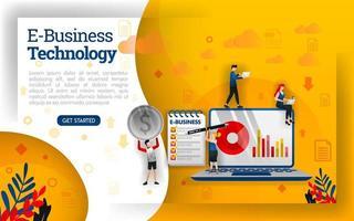 e-business com a tecnologia mais recente, trabalho em equipe de personagem de desenho animado plana em negócios, ilustração de vetor de conceito. pode usar para, página de destino, modelo, interface do usuário, web, aplicativo móvel, pôster, banner, folheto