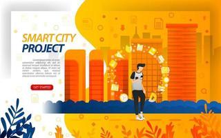 projetos do governo para cidade inteligente, tornar a cidade uma iot internet das coisas, ilustração do vetor de conceito. pode usar para, página de destino, modelo, interface do usuário, web, aplicativo móvel, pôster, banner, base