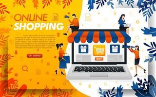 design de site de compras online. as pessoas estão comprando online com laptops, ilustração de vetor de conceito. pode usar para, página de destino, modelo, interface do usuário, web, aplicativo móvel, pôster, banner, base