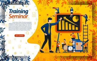 ensinar negócios para iniciantes. seminário para treinamento de empreendedores e aumento de vendas, ilustração de vetor de conceito. pode usar para página de destino, modelo, interface do usuário, web, aplicativo móvel, pôster, banner, documento