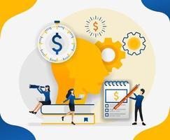 brainstorming para otimizar custos. gerenciar finanças. pensar na cabeça sobre dinheiro e finanças, ilustração em vetor conceito. pode usar para página de destino, modelo, interface do usuário, web, celular, pôster, banner