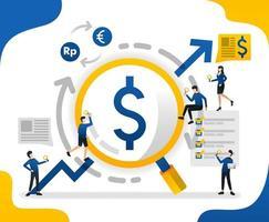 à procura de lucro com uma lupa. seta para cima ou lucro aumentado, ilustração vetorial de conceito. pode usar para página de destino, modelo, web, aplicativo móvel, pôster, banner, folheto, plano de fundo, site vetor