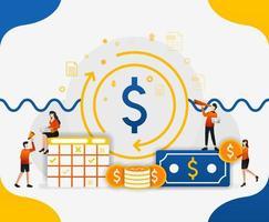 circulação no sistema financeiro global. circulação de dinheiro na aceleração da economia, ilustração em vetor conceito. pode usar para página de destino, modelo, interface do usuário, web, aplicativo móvel, pôster, banner, folheto