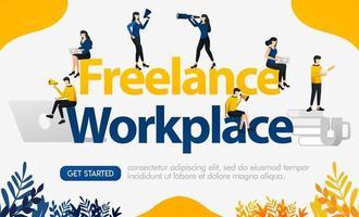 anúncios para sites trabalham com método freelance com workpalce freelance de palavras, ilustração de vetor de conceito. pode ser usado para página de destino, modelo, interface do usuário, aplicativo móvel, pôster, banner, folheto, plano de fundo, site