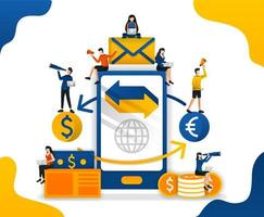 transferir e enviar dinheiro com o aplicativo. comércio entre moedas. Aplicativos de negociação forex, ilustração do vetor de conceito. pode usar para página de destino, modelo, interface do usuário, web, aplicativo móvel, pôster, banner, folheto