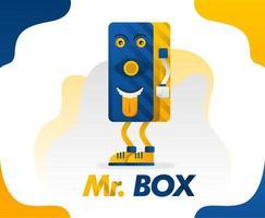 mr box, um monstro de caixa com a língua para fora em um estilo simples para crianças porque é engraçado, ilustração em vetor conceito. pode ser para canecas, camisetas, xícaras, pôsteres, roupas, artigos de papelaria, itens escolares